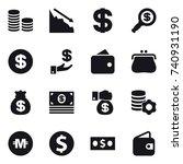 16 vector icon set   coin stack ... | Shutterstock .eps vector #740931190
