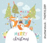funny foxes friends celebrating ...   Shutterstock .eps vector #740931289