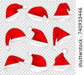christmas santa claus hats set. ... | Shutterstock .eps vector #740933446