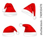 christmas santa claus hats set. ... | Shutterstock .eps vector #740933470