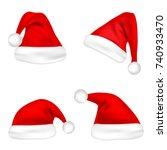 christmas santa claus hats set. ... | Shutterstock .eps vector #740933470