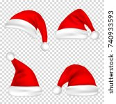 christmas santa claus hats set. ... | Shutterstock .eps vector #740933593