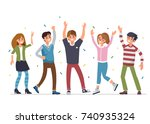 group of  happy casual people.... | Shutterstock .eps vector #740935324
