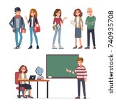 young students and teachers.... | Shutterstock .eps vector #740935708