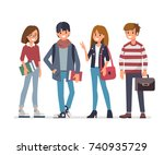 group of young students. flat...   Shutterstock .eps vector #740935729