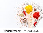 spices in spoons and scattered... | Shutterstock . vector #740938468