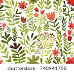 watercolor floral seamless... | Shutterstock . vector #740941750