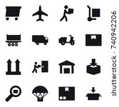 16 vector icon set   delivery ... | Shutterstock .eps vector #740942206