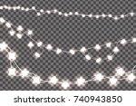 white realistic christmas... | Shutterstock .eps vector #740943850