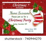 christmas invitation with holly ... | Shutterstock .eps vector #740944270