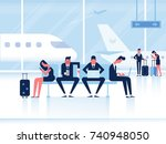 people sitting in airport... | Shutterstock .eps vector #740948050