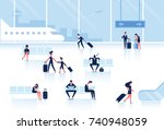 people sitting and walking in... | Shutterstock .eps vector #740948059