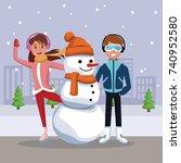 friends with snowman cartoon   Shutterstock .eps vector #740952580