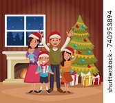 family christmas cartoon | Shutterstock .eps vector #740953894
