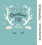 merry christmas greeting card... | Shutterstock .eps vector #740954818