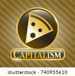 gold emblem with pizza slice... | Shutterstock .eps vector #740955610