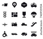 16 vector icon set   delivery ... | Shutterstock .eps vector #740955934