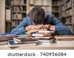 tired teenager resting on a... | Shutterstock . vector #740956084