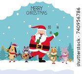 merry chrismtas card cartoon | Shutterstock .eps vector #740956786