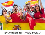 spanish supporters cheering at... | Shutterstock . vector #740959210