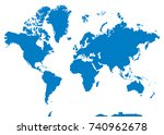 blue blank vector world map.... | Shutterstock .eps vector #740962678