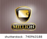 gold emblem with wallet icon... | Shutterstock .eps vector #740963188