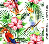 bright parrots in the style of ... | Shutterstock . vector #740965189