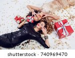two gorgeous  seductive woman... | Shutterstock . vector #740969470