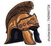 ancient helmet with the crest... | Shutterstock .eps vector #740969728