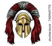 greek corinthian helmet vector... | Shutterstock .eps vector #740969770