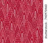 christmas forest seamless... | Shutterstock .eps vector #740970460