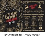 christmas food menu for... | Shutterstock .eps vector #740970484