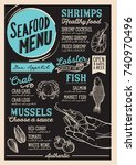 seafood menu for restaurant and ... | Shutterstock .eps vector #740970496