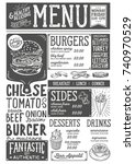 burger food menu for restaurant ... | Shutterstock .eps vector #740970529
