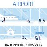 airport horizontal banner....   Shutterstock .eps vector #740970643