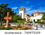 puerto morelos church in... | Shutterstock . vector #740975359