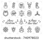 christmas icons set  holiday... | Shutterstock .eps vector #740978023