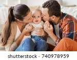 family  parenthood and people... | Shutterstock . vector #740978959