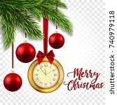 christmas illustration with... | Shutterstock .eps vector #740979118