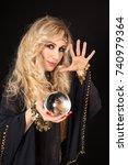 crystal ball in attractive... | Shutterstock . vector #740979364