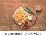 composition with yummy french... | Shutterstock . vector #740979874