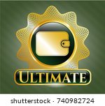 gold shiny badge with wallet... | Shutterstock .eps vector #740982724