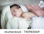 sleepy baby | Shutterstock . vector #740983069