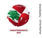 banner or poster of lebanon...   Shutterstock .eps vector #740983534