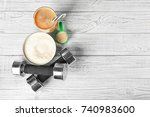 glass with protein shake ... | Shutterstock . vector #740983600