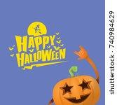 vector halloween funky rock n... | Shutterstock .eps vector #740984629