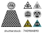 all seeing eye icons set... | Shutterstock .eps vector #740984890