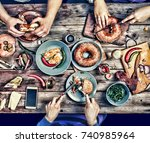 group of people dining concept. ... | Shutterstock . vector #740985964
