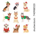 christmas dogs collection.... | Shutterstock .eps vector #740988520