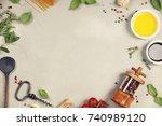 olive oil  balsamic vinegar ... | Shutterstock . vector #740989120